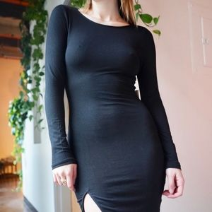 Long Sleeved Black Midi Dress with Slit by Tobi